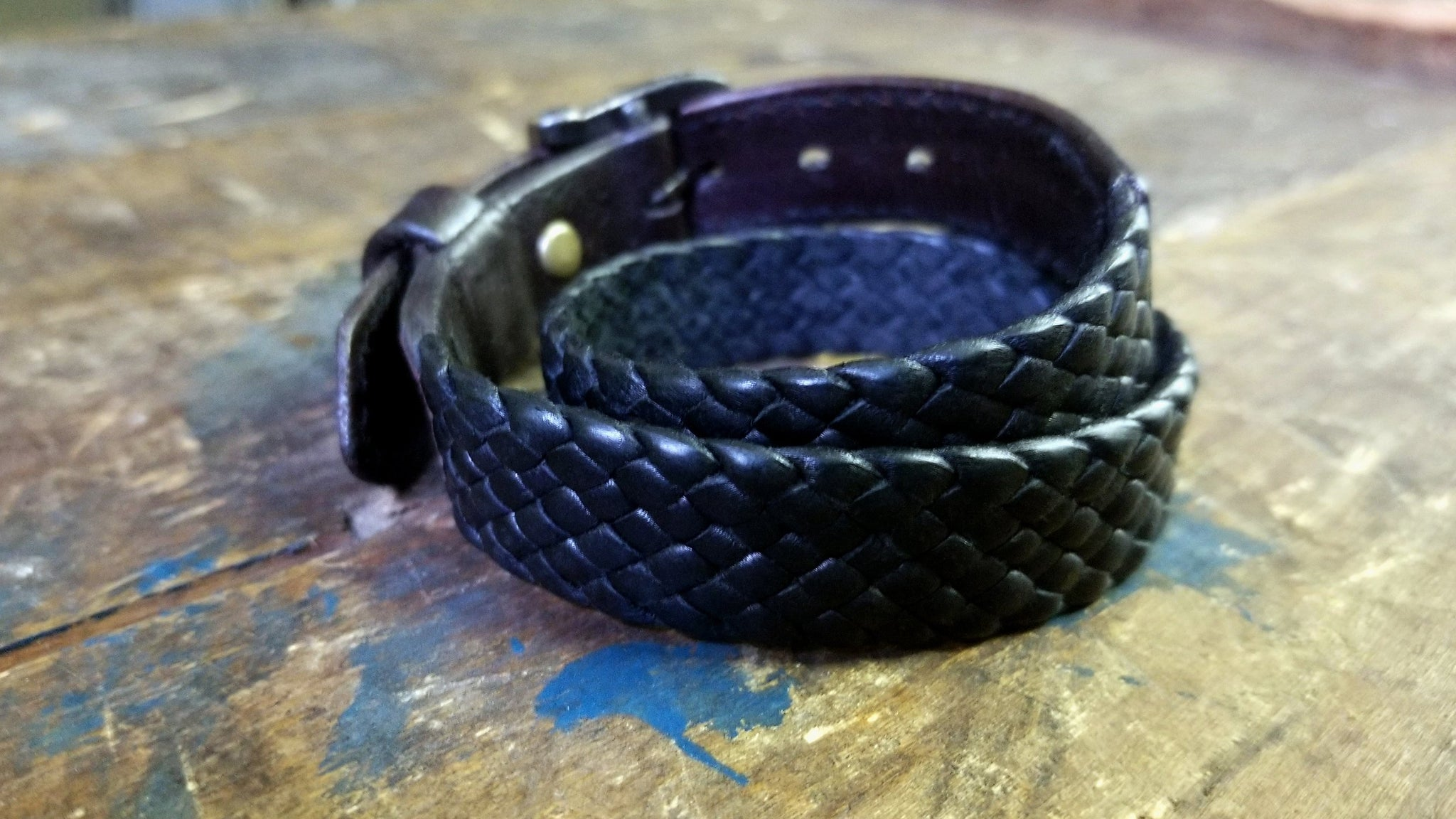 KalaniLeather Bracelet,  Double Wrap Braided Bracelet, Black & Chocolate