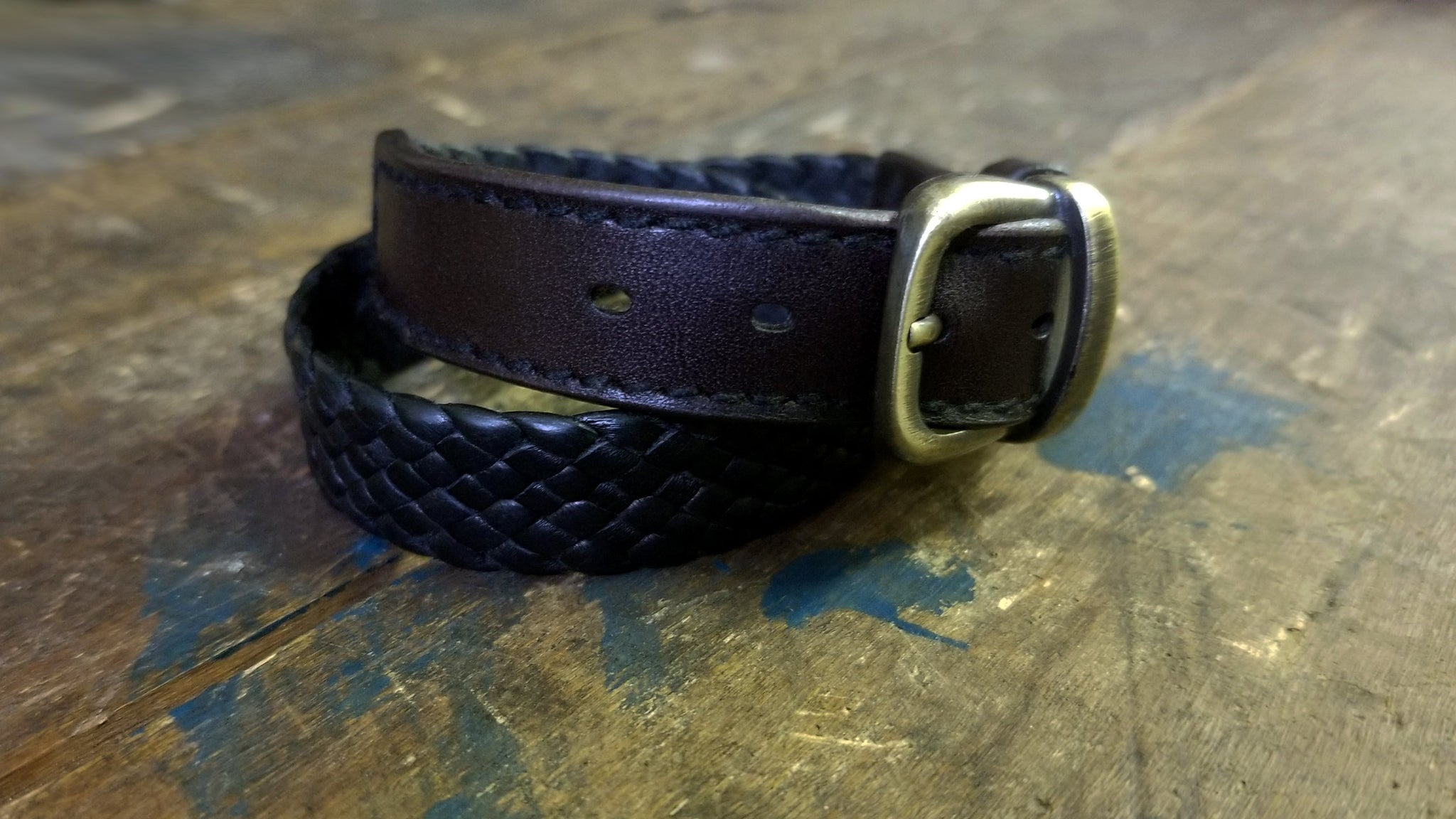 Kalani Wrap Braided Leather Bracelet, Black & Chocolate