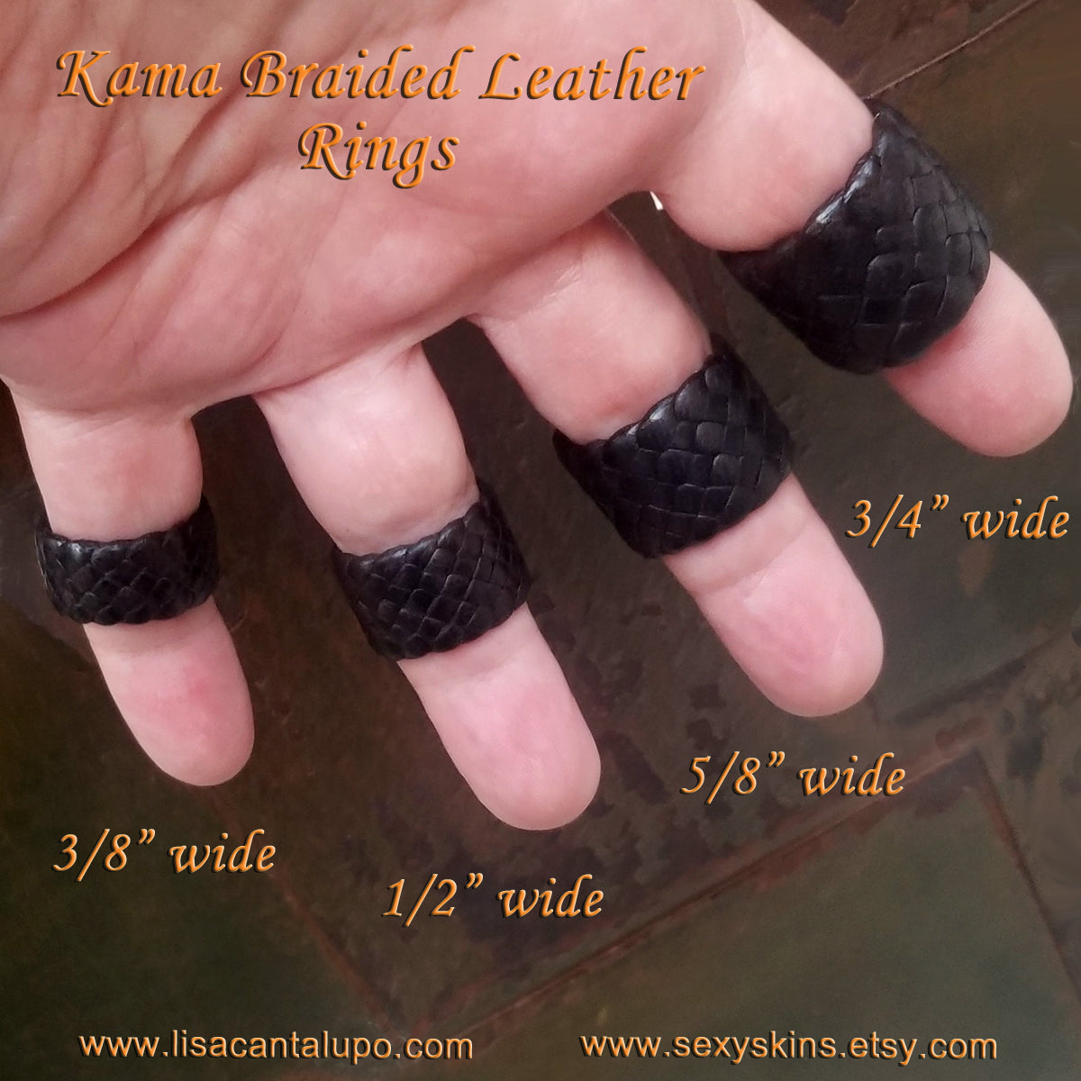 "Kama Braided Leather Rings in the available widths; 3/8"", 1/2"", 5/8"", and 3/4"" on model"