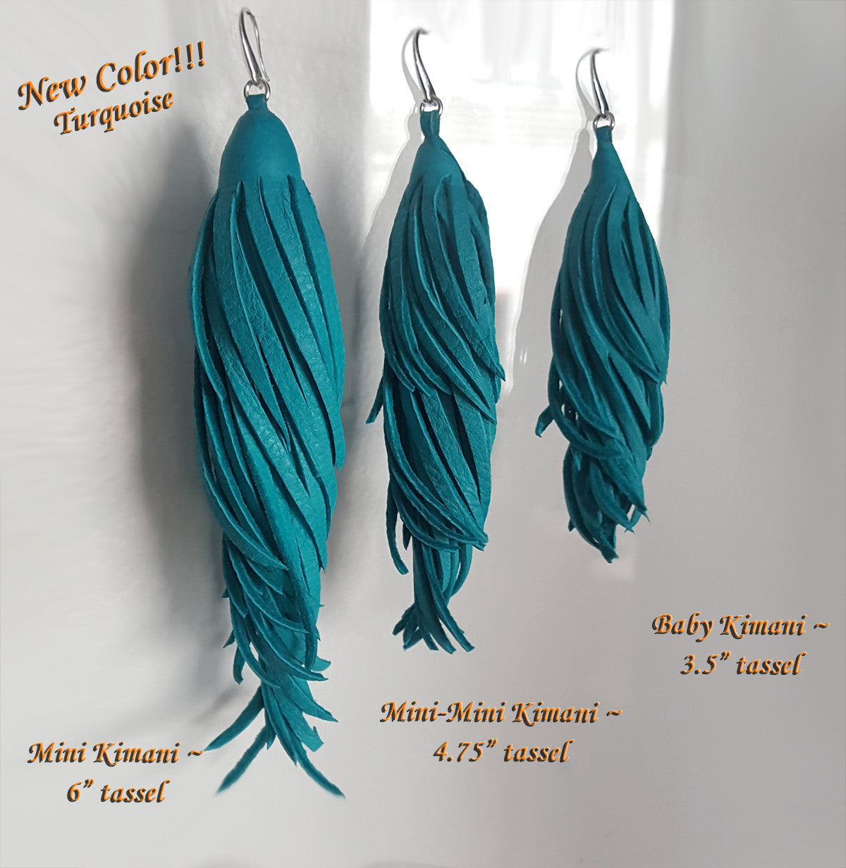 Kimani Leather Tassel Earrings in 4 lengths. New Color, Turquoise