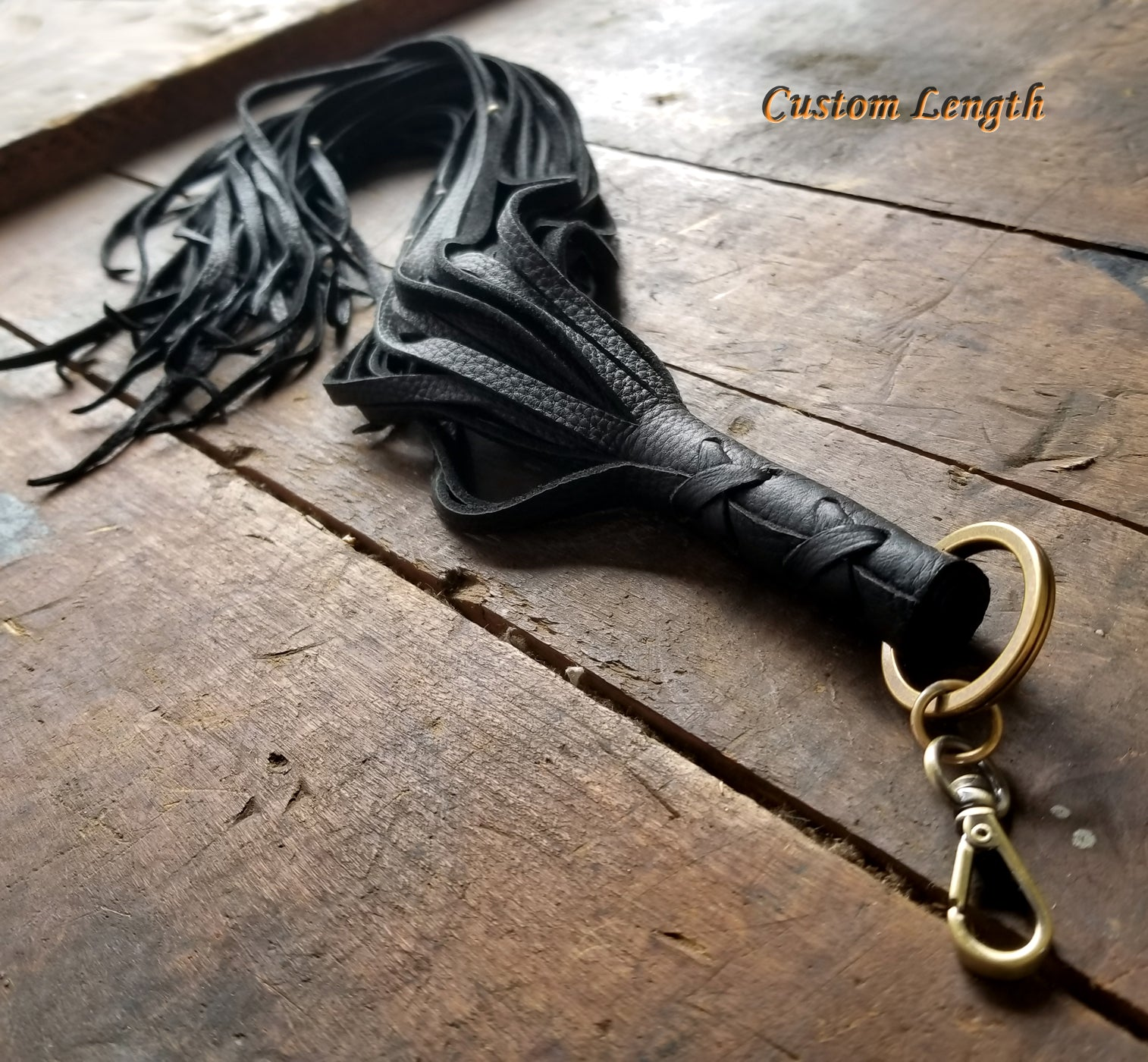 Custom Length Nala Leather Tassel Key Chain in black deerskin with antique brass beads and clip
