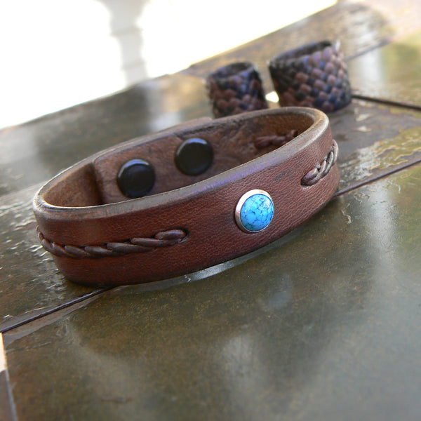 Reyes Turquoise Leather Bracelet, Twist Braided Leather Bracelet in tobacco