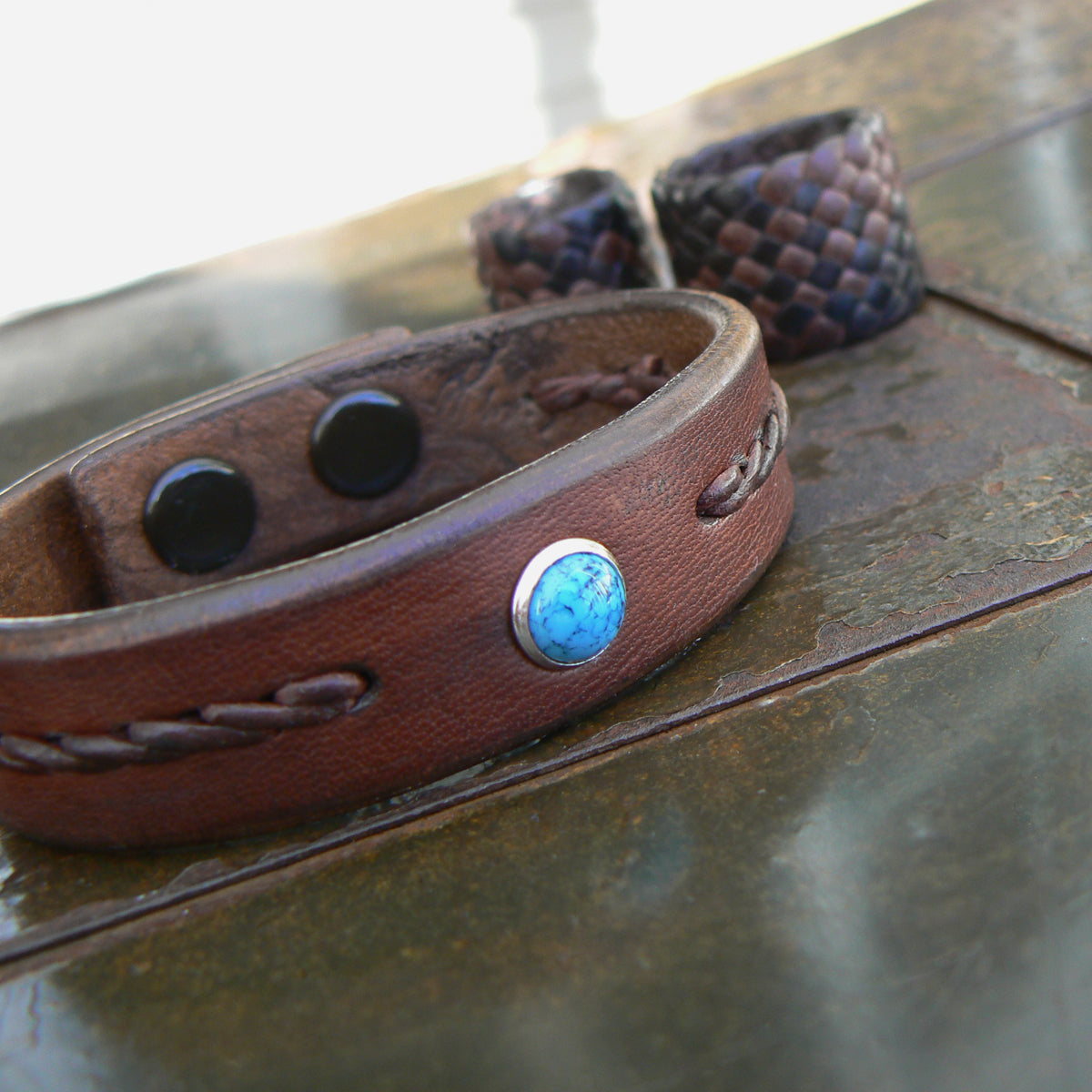 Turquoise Leather Bracelet | Men's Women's Braided Leather Bracelet in tobacco