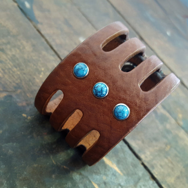 Trinity Wide Leather Cuff, Turquoise Stone Rivet Cuff Bracelet- SS1124