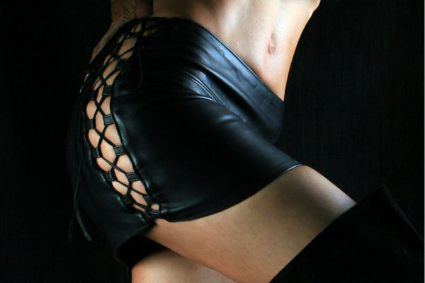 vixen lambslin leather skirt, black, with laced up tabbed sides, mini skirt