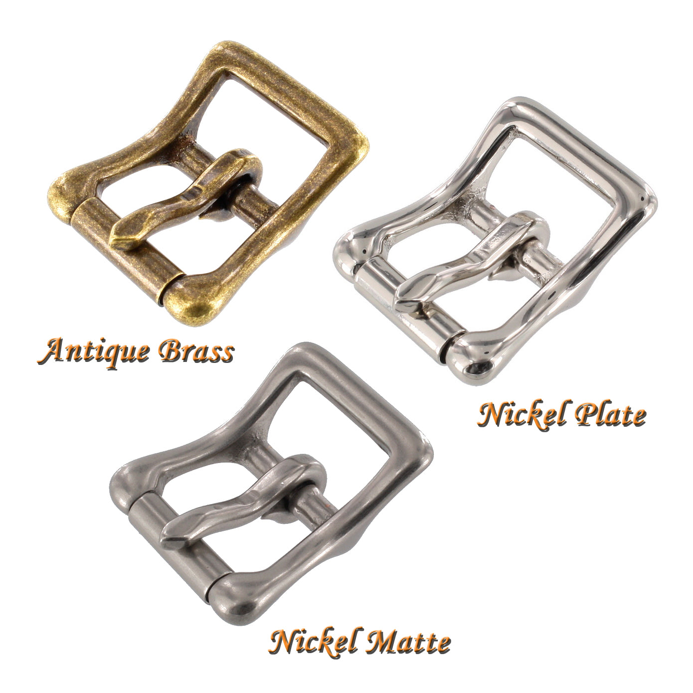 Buckle choices; Antique brass, Nickel Plate, and Matte Nickel