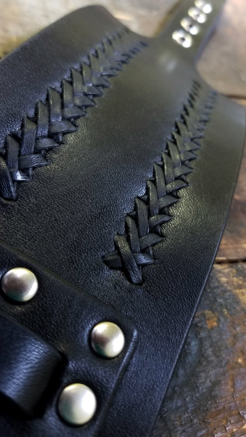 close up of the ladder hand lacing detail on Aga Men's Wide Leather Cuff