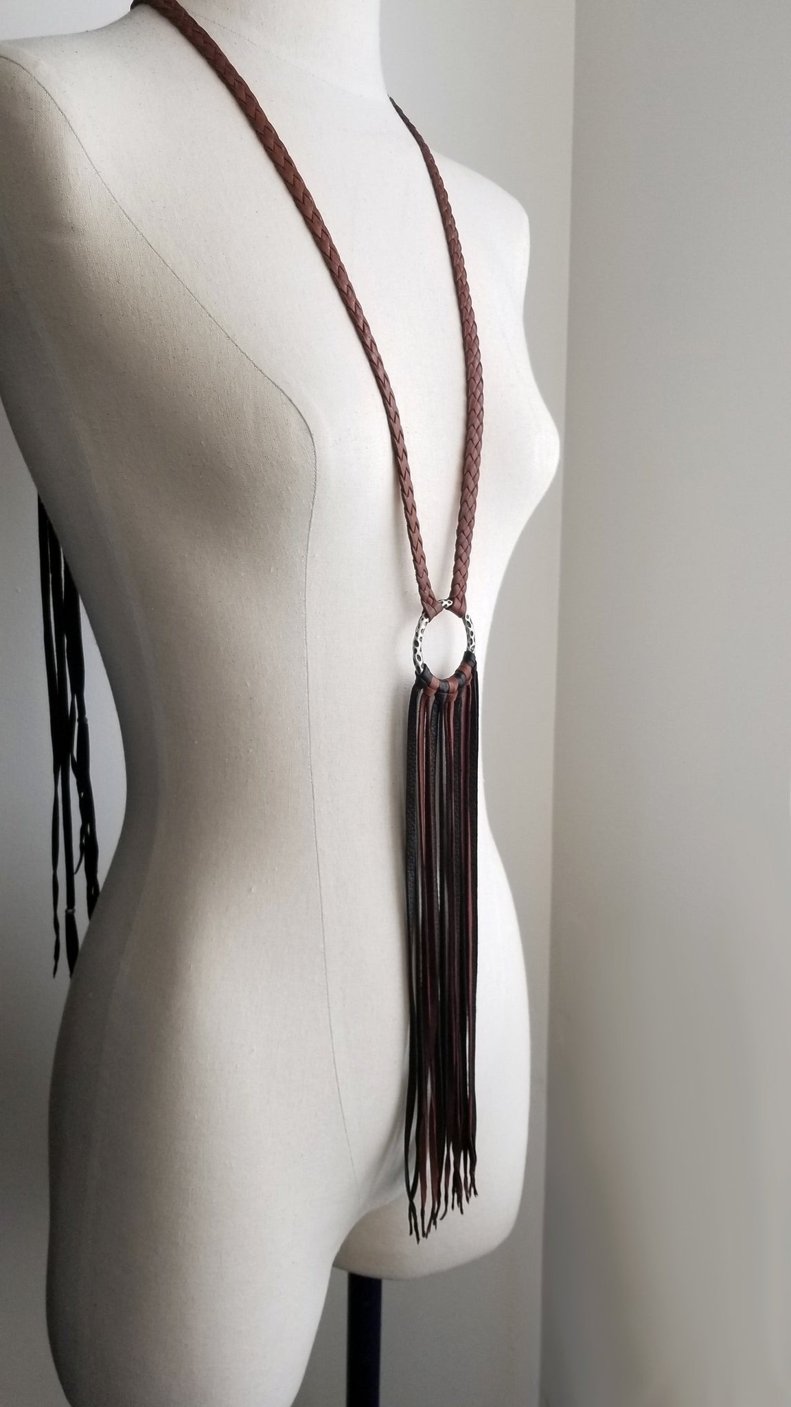Aisha leather statement necklace - mahogany and black deerskin leather