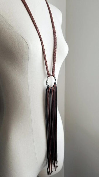 Fringe Leather Necklace /& Long Leather Tassel Earrings Brass African Beads Silver Chain Black White Brown Badu-Mini Kimani Necklace Set