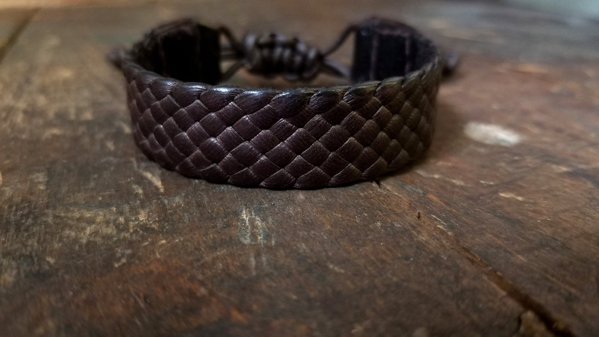 "chocolate brown Amari braided leather bracelet, 3/4"" wide wrist band"