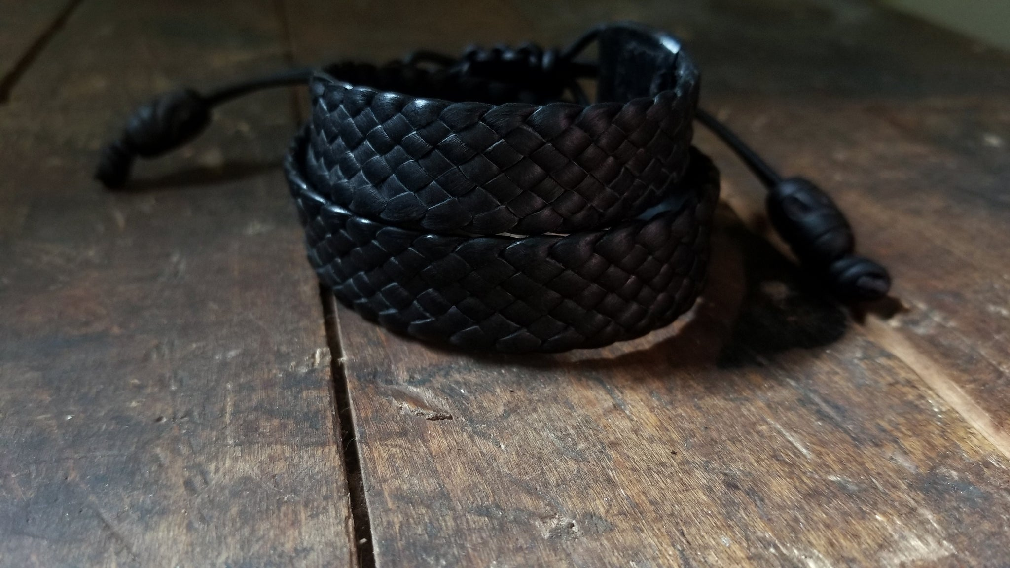 Braided Leather Double Wrap Bracelet, front view, black deerskin
