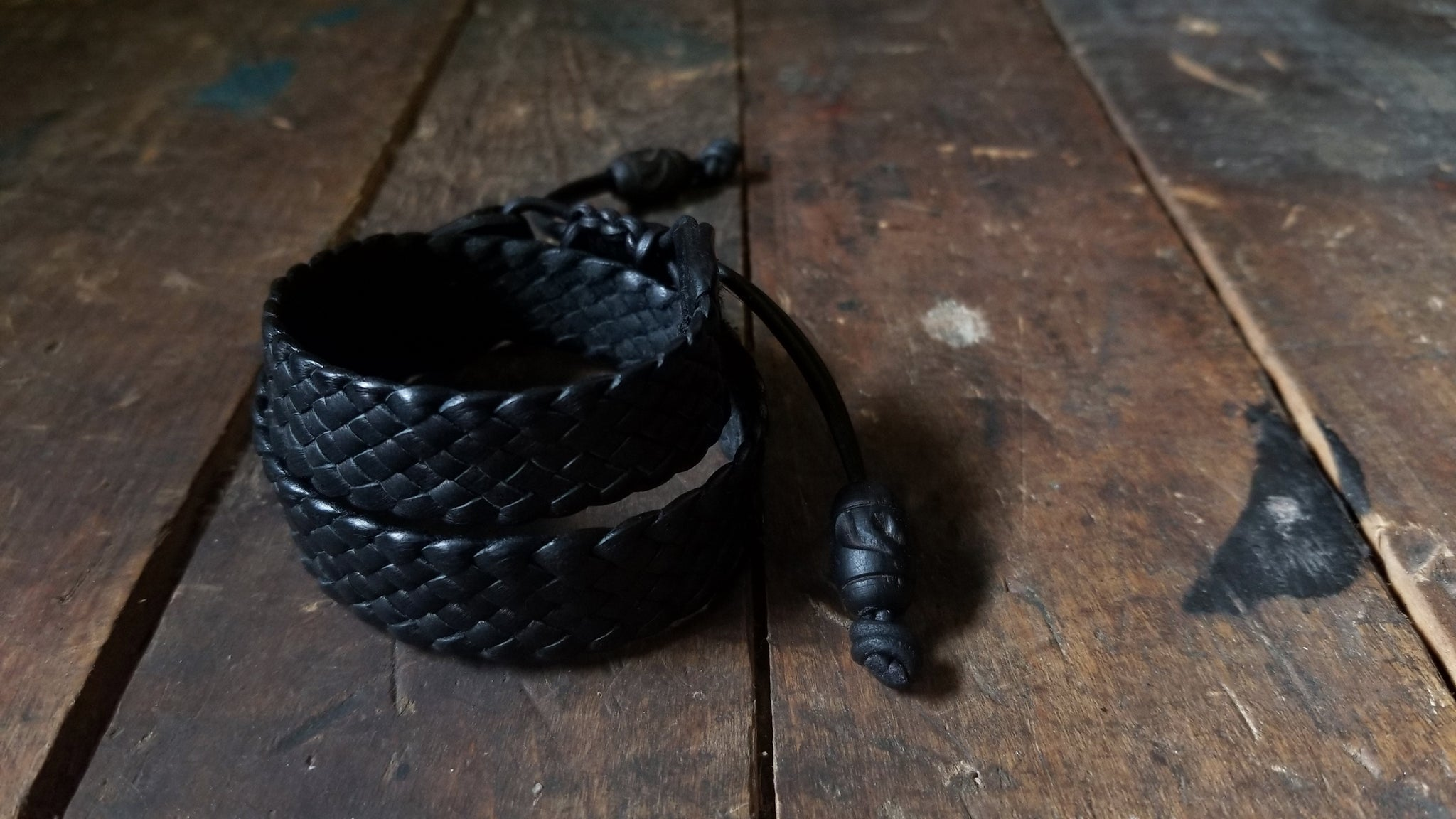 Braided Leather Bracelet,  wraps twice around the wrist, in black deerskin