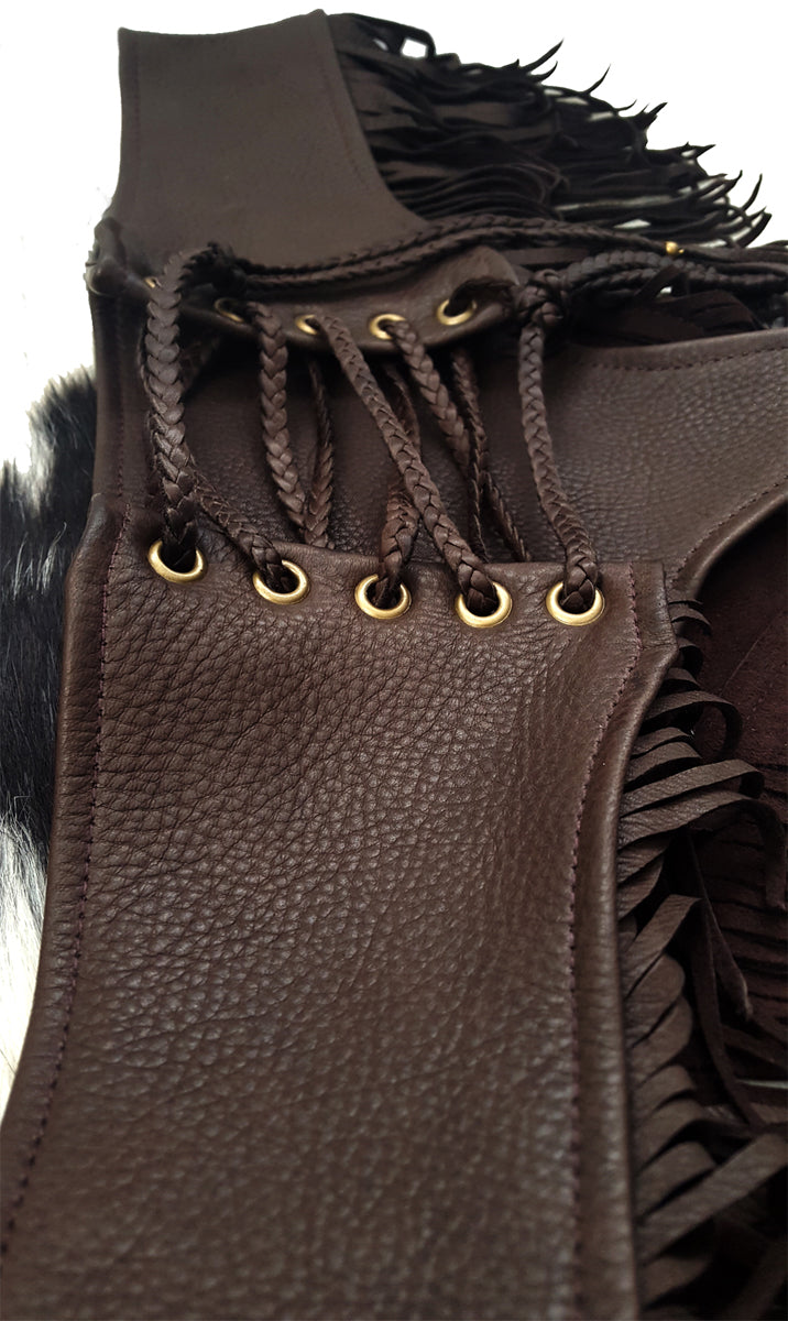 Kyra DEERSKIN Leather Fringe Lace-up Booty Shorts chocolate brown close up