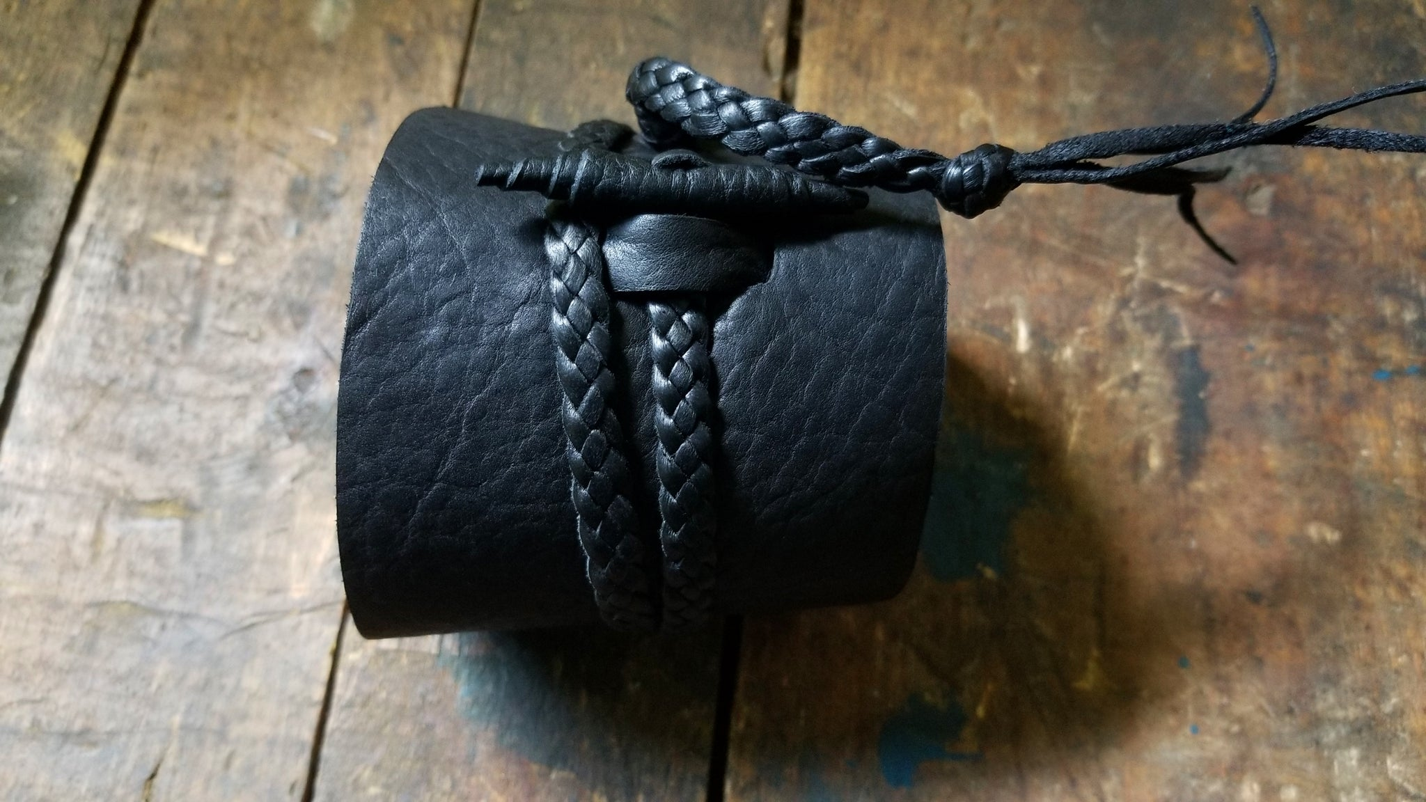 Black Jason Mamoa style Bison Leather Wrap Cuff ~ Busajja
