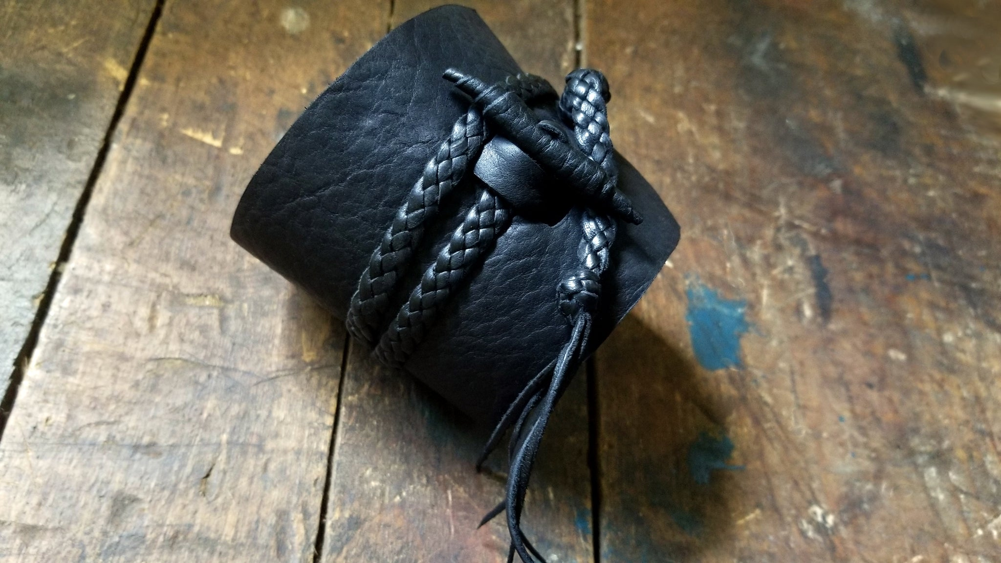 Busajja Bison Leather Wrap Cuff with Braided Deerskin Leather Ties & Bison Button in Black