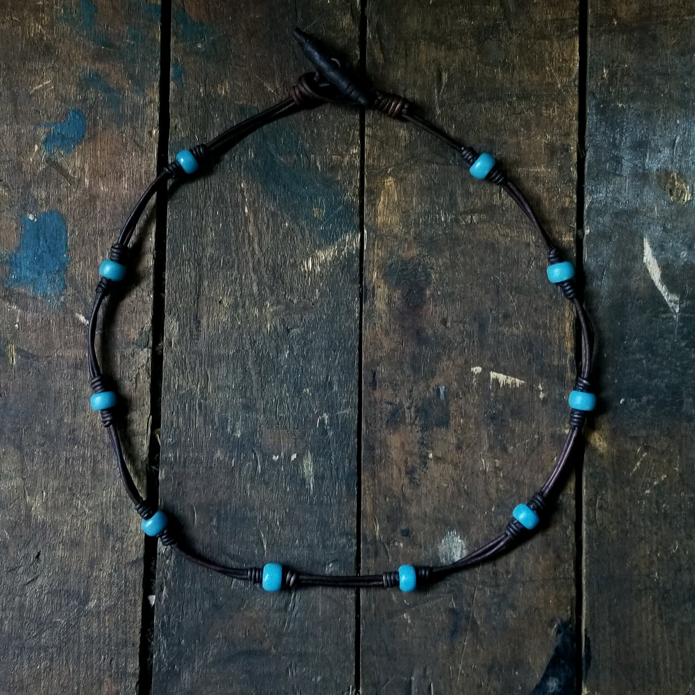Chuma African Trace Bead Leather Knot Necklace with Leather Toggle Button & Loop Clasp, Blue Green Beads