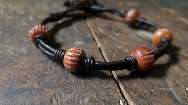 Chuma Leather Bracelet w/ Leather Button & Loop Clasp Closure, African Trade Bead Bracelet, Men's Women's Knot Bracelet, camel bone