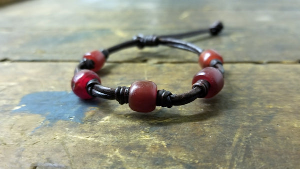 Chuma African Trade Beads Leather Bracelet - SS1085