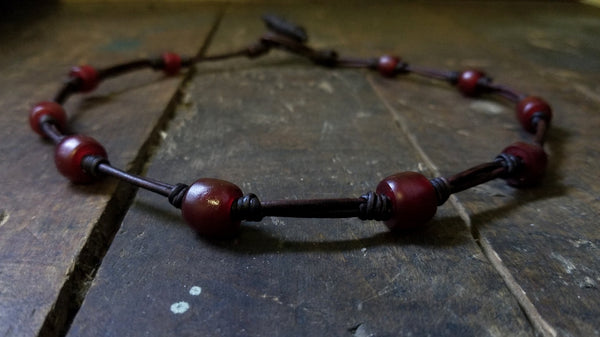 Chuma Necklace; antique chocolate brown leather cord with mahogany Brown African Trade Beads, Bison Leather Button and Loop Clasp