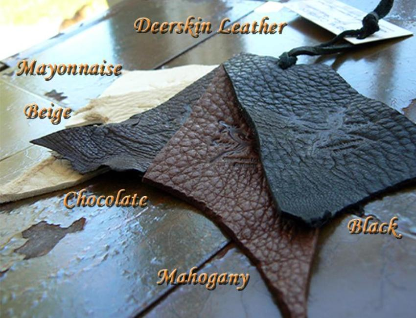 deerskin choices; mayonnaise, chocolate, mahogany, black