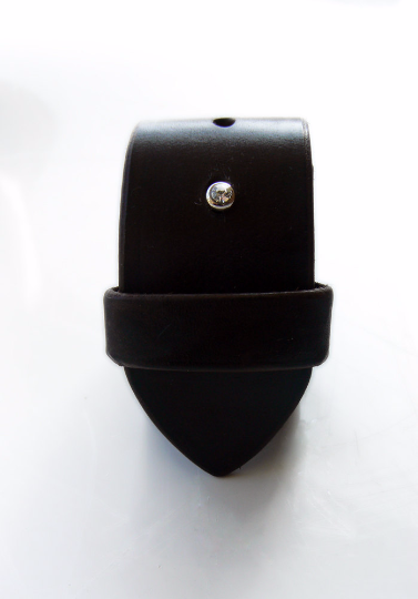 Black wide leather cuff, Mao Wrist Band w/ Rhinestone button stud