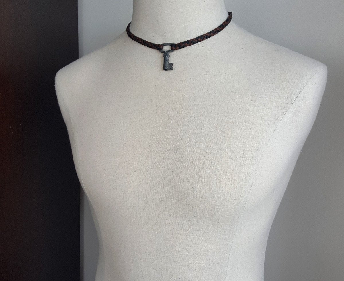 leather key necklace on male mannequin, braided leather choker, vintage key necklace
