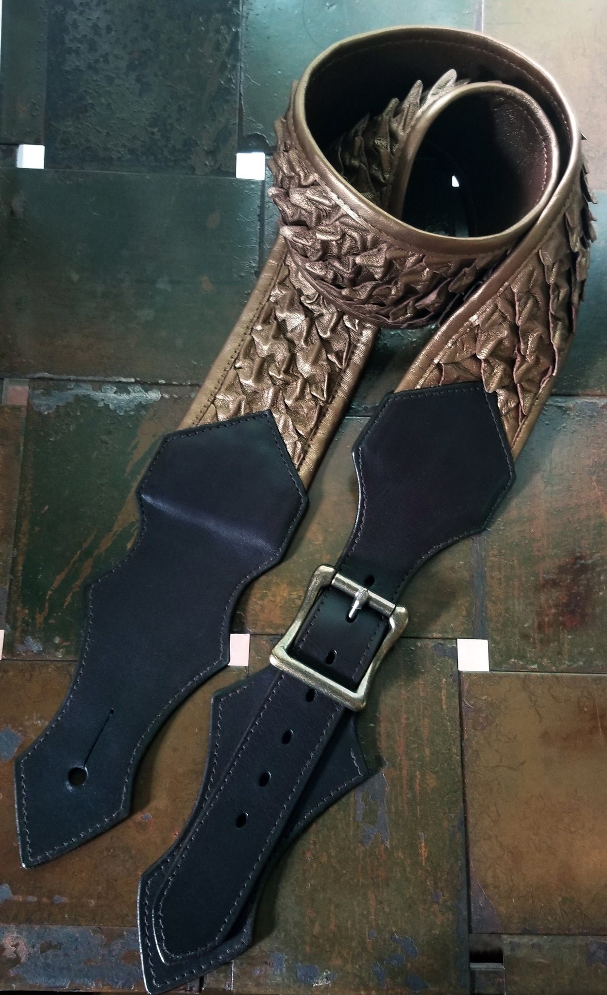 Draak Dragon Scale Leather Guitar Strap in Bronze Pearl and Brown Latigo Leather | Handmade Dragon Scales Custom Guitar Stra