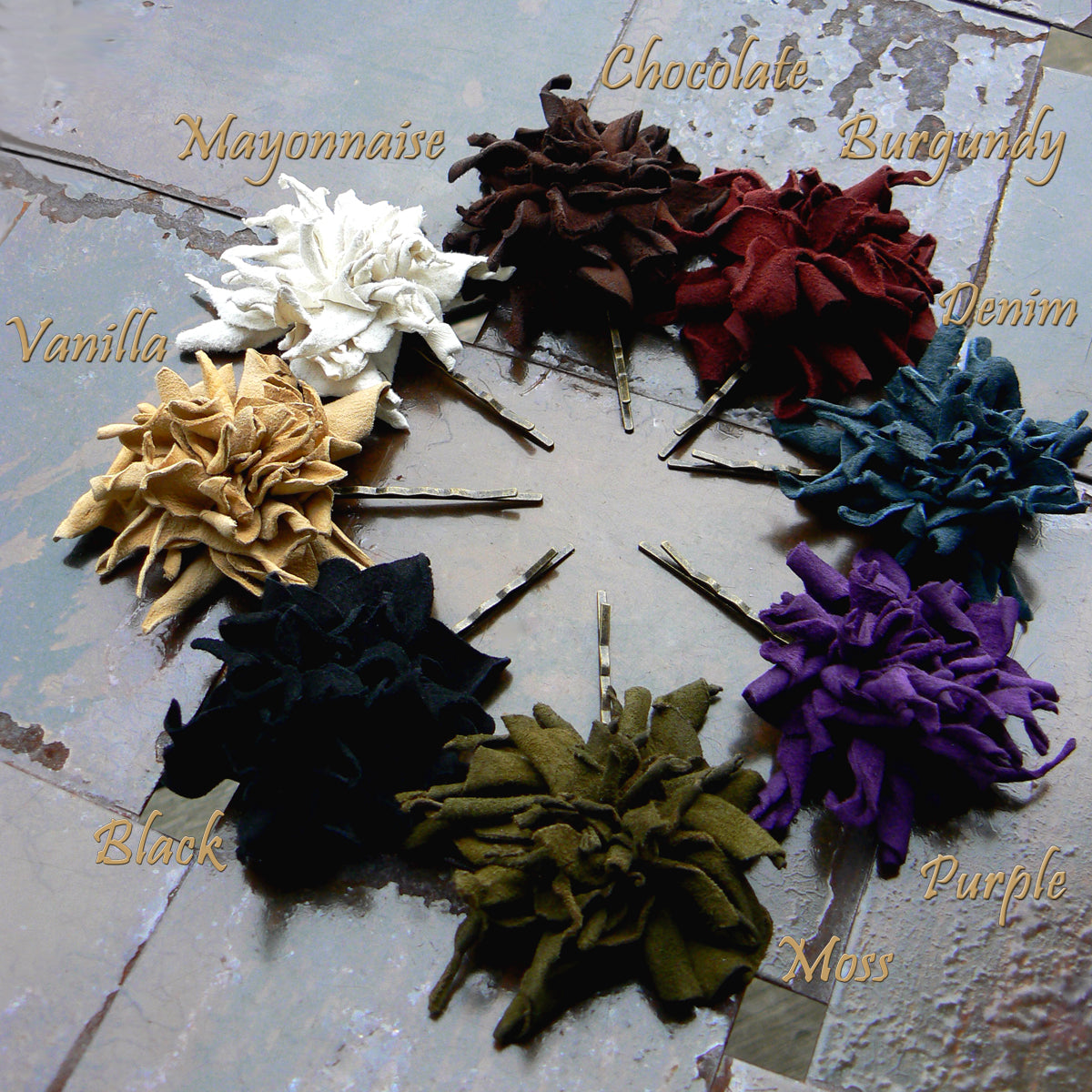 Abeba Leather Flower Bobby Pins Hair Pins Hair Accessories color options