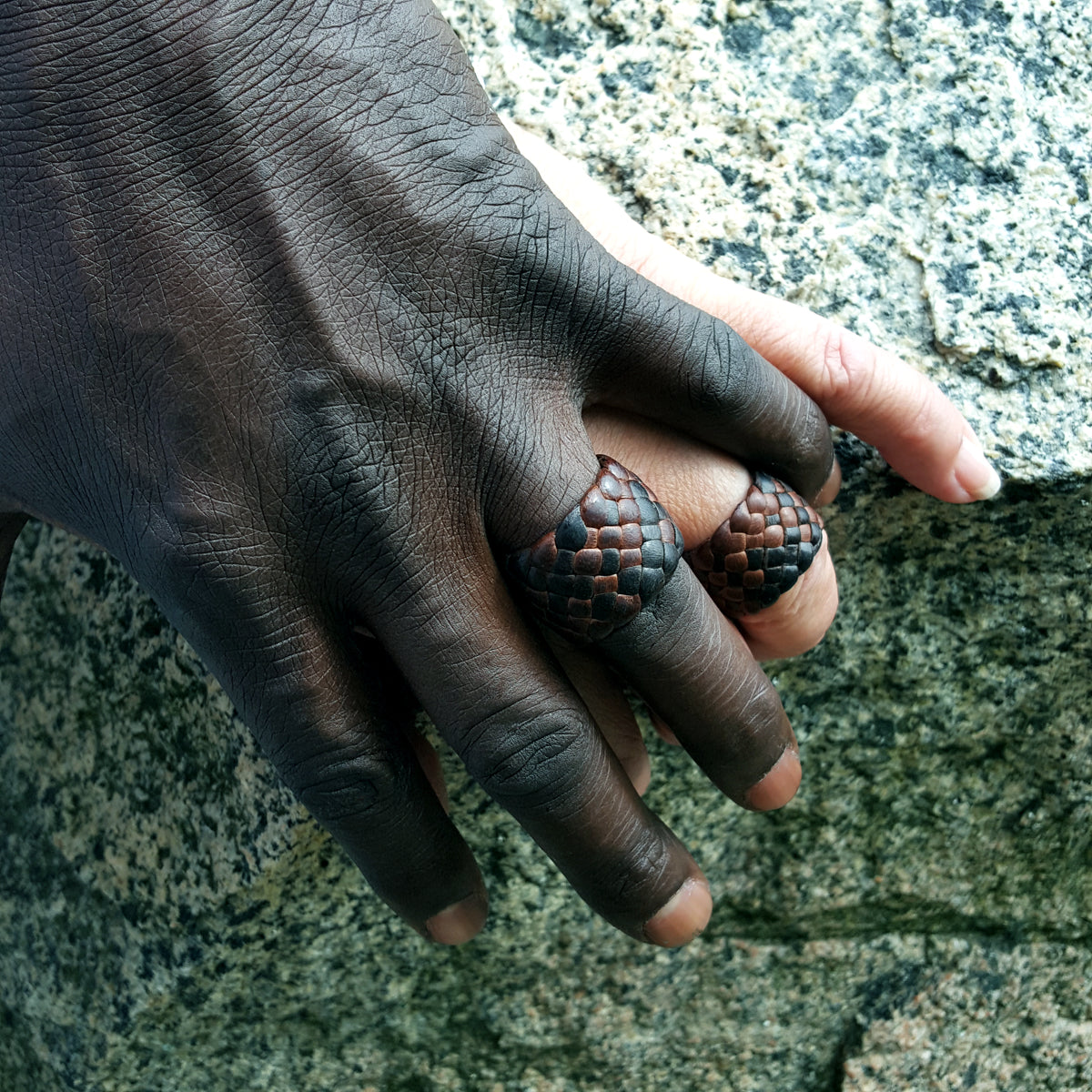 deerskin color options for Kama Leather Ring on male and female hands | Men's Women's Braided Leather Rings