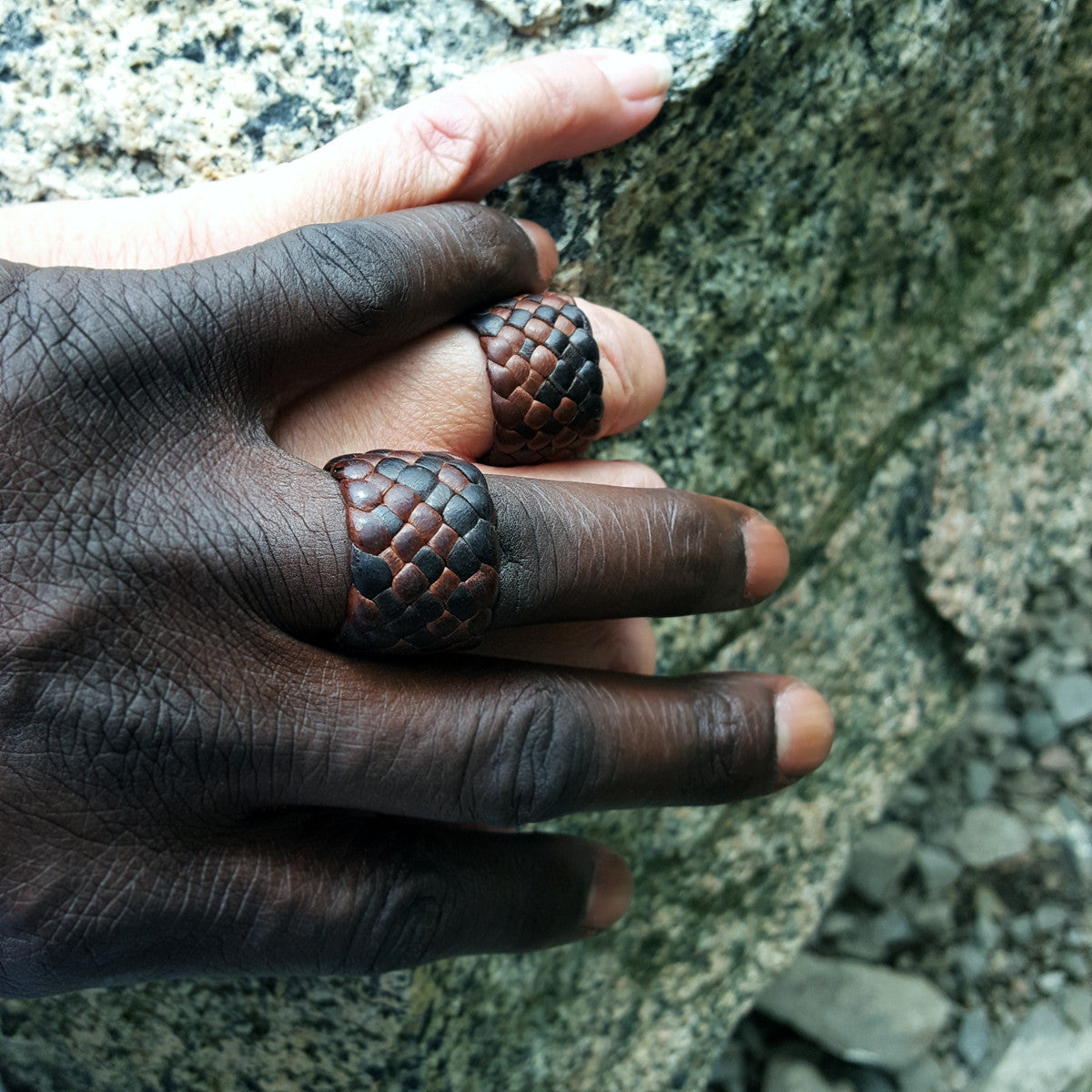 Leather Rings on Sensual hands | African male and white female | interracial couple wearing Kama Braided Leather Rings