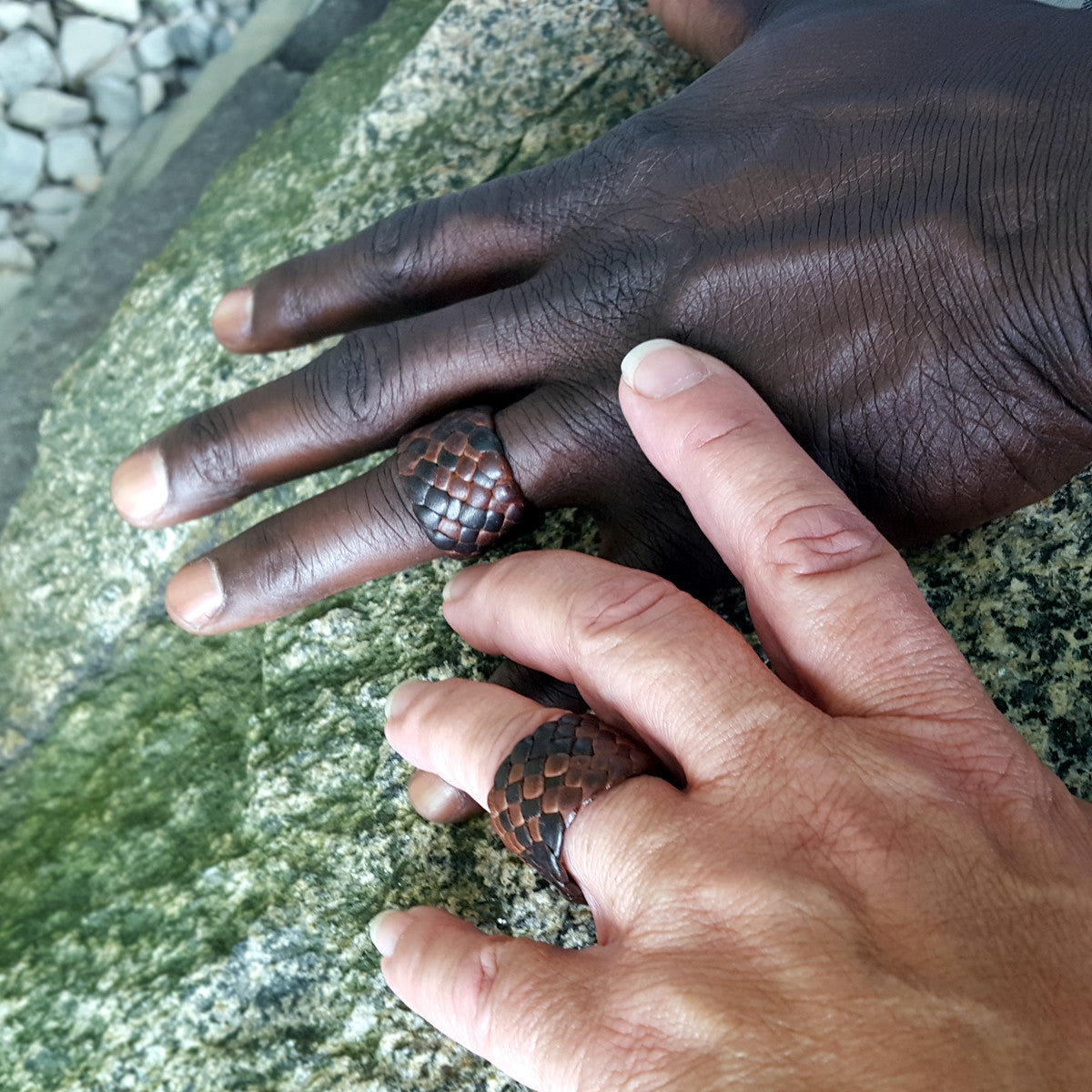 Men's Women's Braided Leather Rings | African male model | Couple's Rings | Engagement Anniversary Wedding Bands on interracial couple
