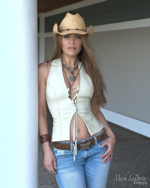 The Heaven Lambskin Leather Halter Top vest in luxurious beige lambskin on model