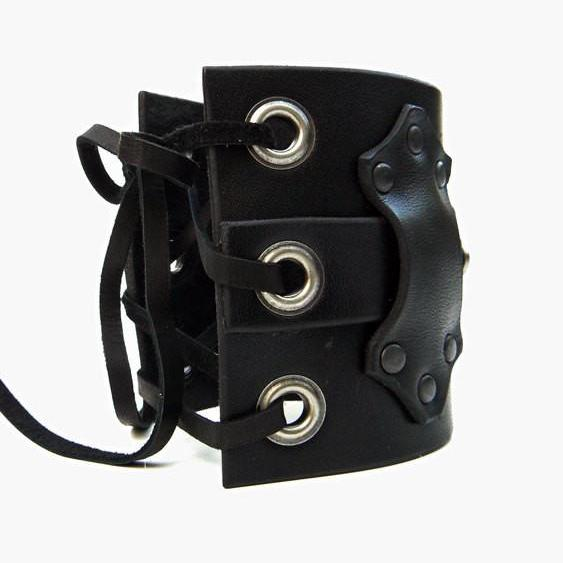 Hook Wide Leather Cuff with Hook & Latch, Black Aztec Leather and Antique Silver Hardware