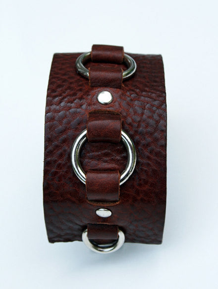 Ready to Ship Cognac Silver Ring Leather Cuff Bracelet