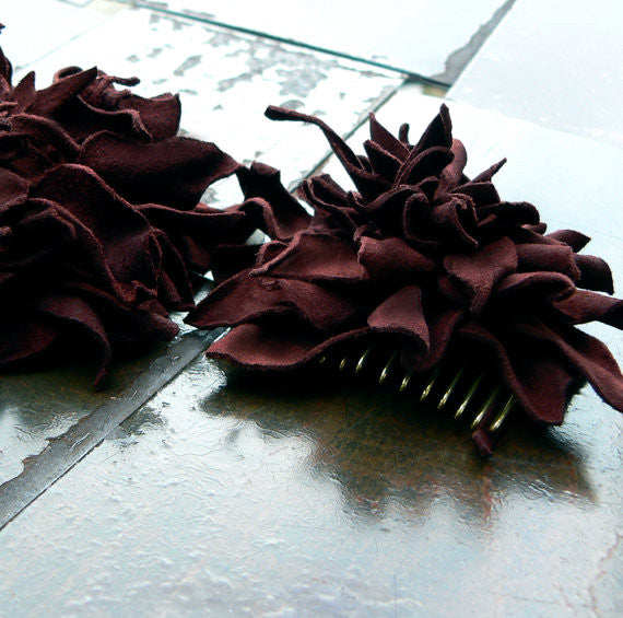 Abeba Leather Flower French Comb Hair Piece Accessory