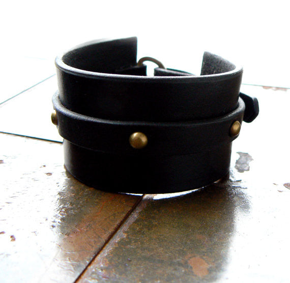 Tocari Leather Dome Rivet Cuff Black or brown