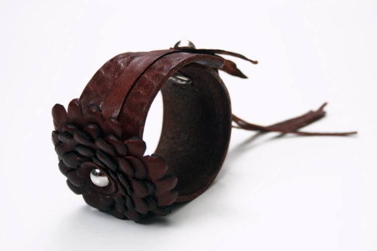 wide leather cuff bracelets with leather pom pom flower