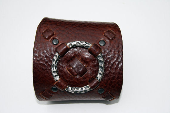 Ready to Ship Cognac Hug & Kiss Wide Leather Cuff