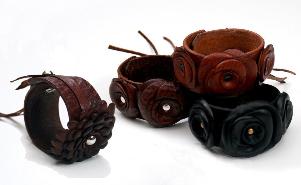 wide leather cuff bracelets with leather flower and roses