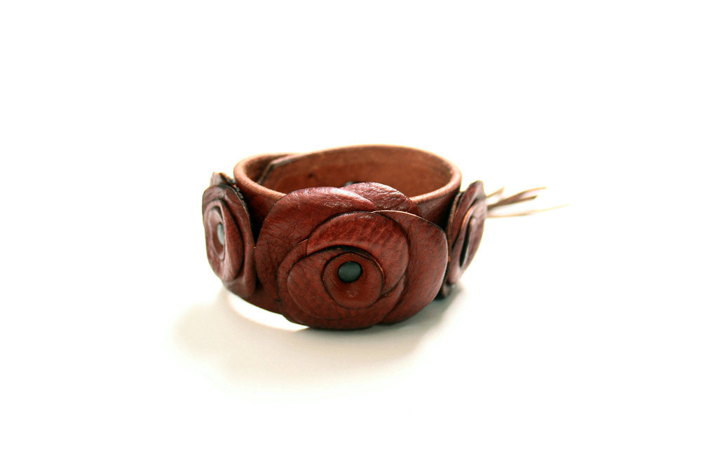 Autumn Rose Leather Flower Cuff  - SS1081
