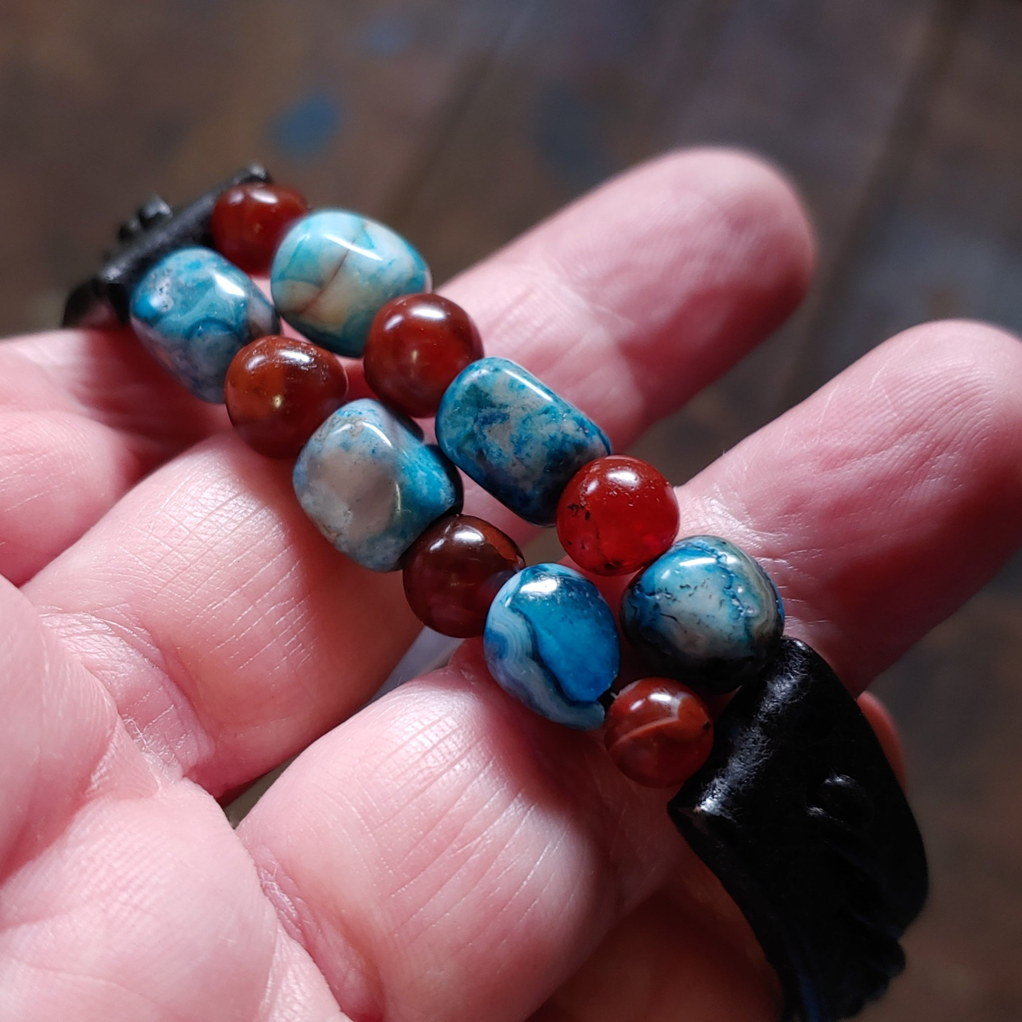 Kuende Gemstone Beaded Bracelet in Black with Blue Crazy Lace Agate  Red Carnelian Beadds