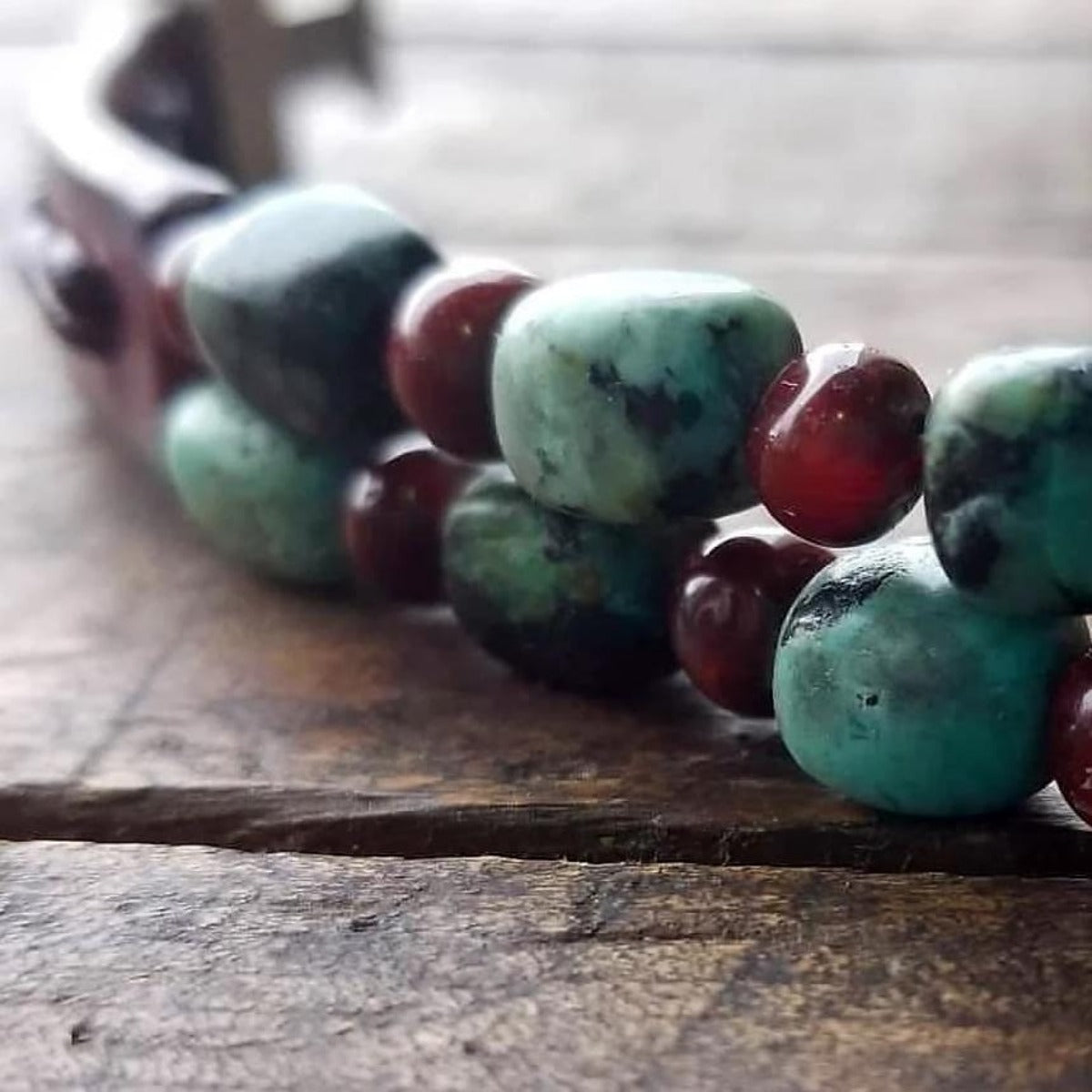 Kuende Leather Bracelet | African Turquoise & Red Carnelian Stone Braided Bracelet - S S1177