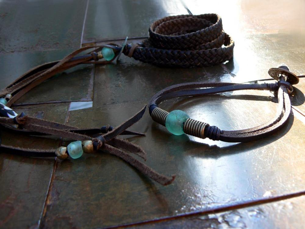 Zuna and Powa leather bracelets; Aquamarine African Glass, Antique Brass, African Coin & Batik Bone Bead