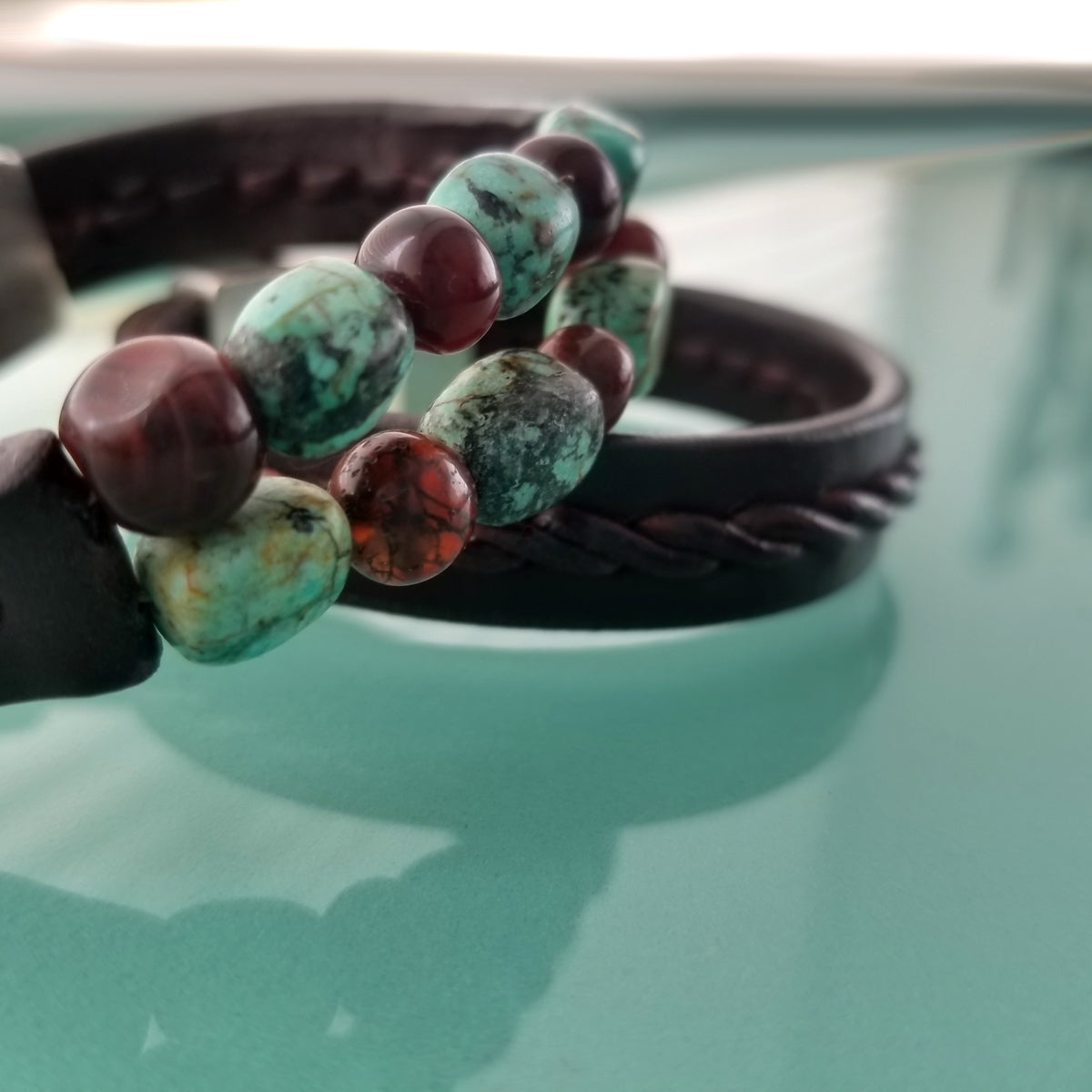 Kuende African Turquoise & Red Carnelian Beaded Braided Leather Bracelet with Tyrese Stair Step Braided Leather Bracelet