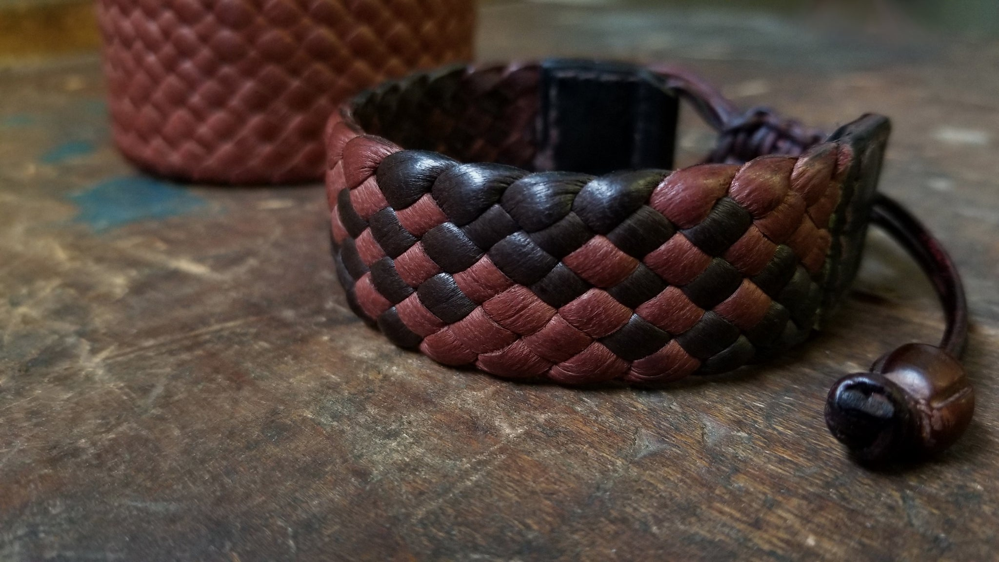 "Amari Braided Leather Bracelet, Side view, Mahogany & Chocolate combination, 3/4"" wide band"