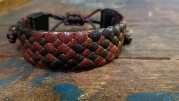 "Mahogany and Chocolate Braided Leather Bracelet 3/4"" wide"
