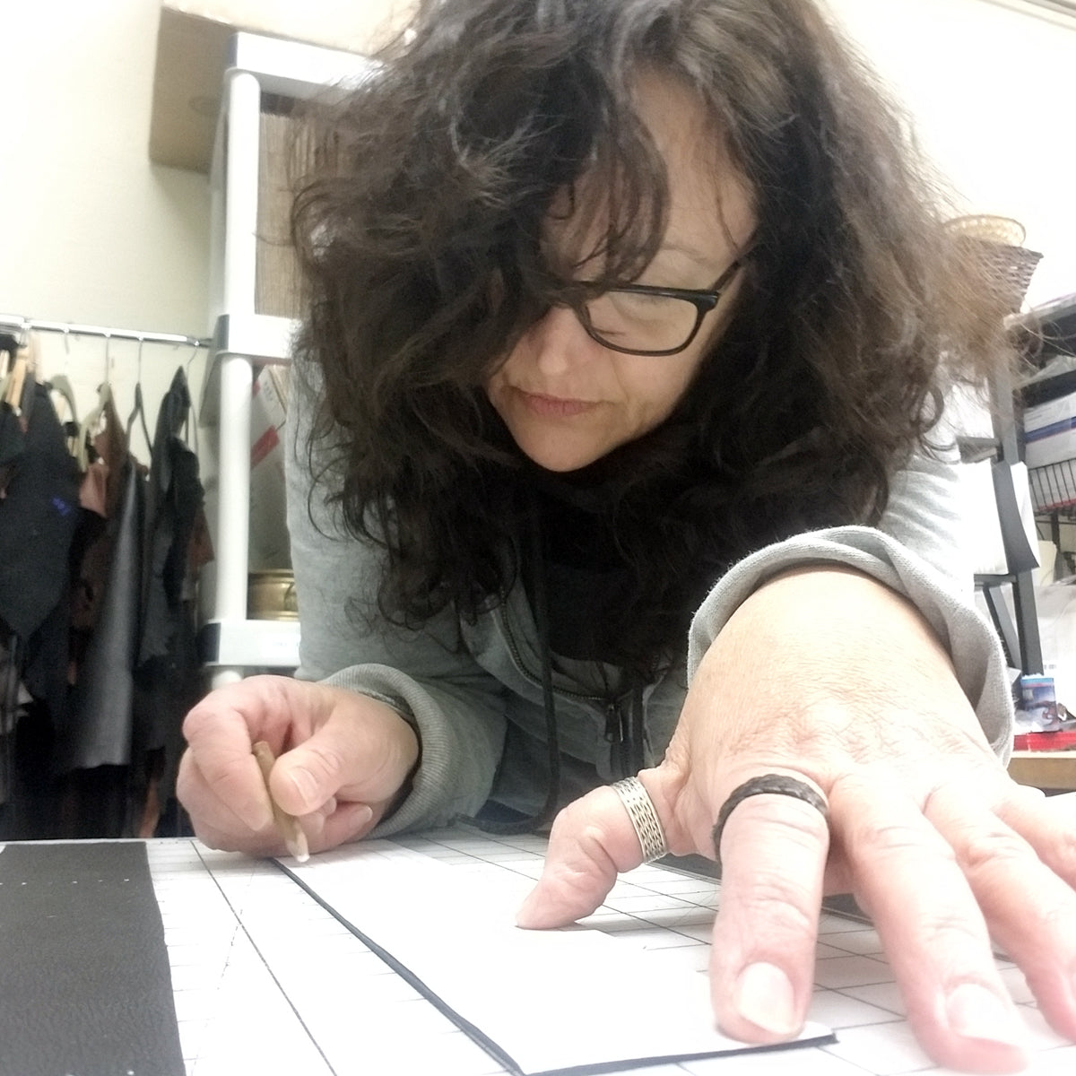 Designer and leather artisan Lisa Cantalupo making a Shani, Braided Leather Cuff Bracelet