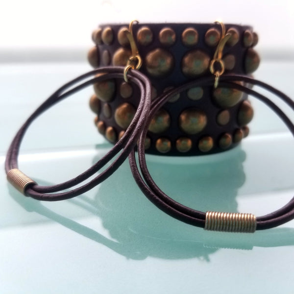 Oki and Midas Leather Earring and Bracelet Set; African Coil Bead Leather Cord Earrings, Wide Leather Studded Cuff in Chocolate Brown and Antique Brass