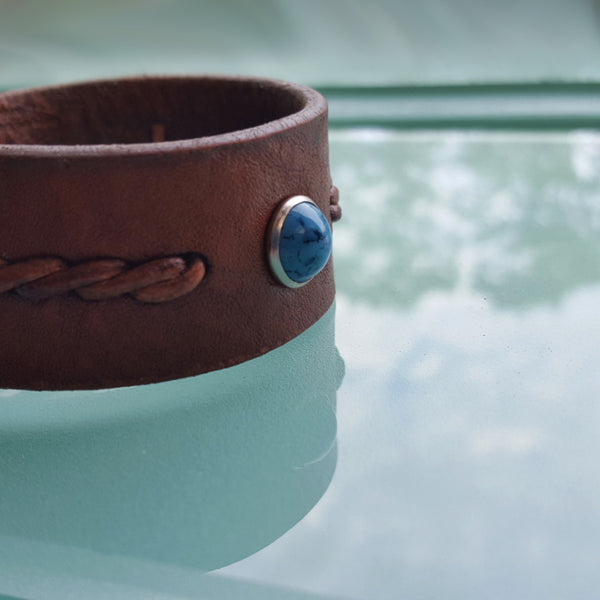 Wide Reyes men's women's unisex twist braided leather turquoise bracelet in the color tobacco