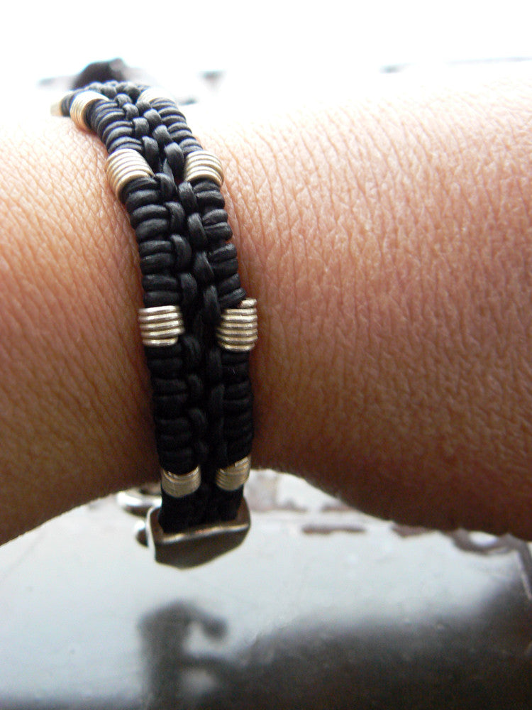 Kenisha Braided Round Leather Cord & Ethiopian Spring Coil Beaded S-Clasp Bracelet